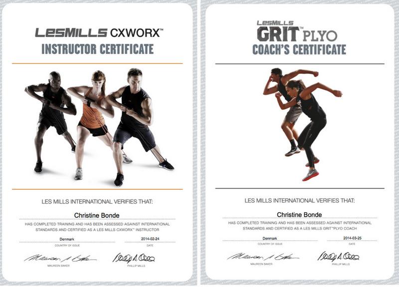 Les Mills certificate CX GRIT christinebonde blog - Christine Bonde