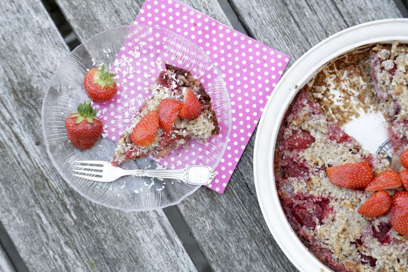 Crumbletærte rabarbercrumble jordbærtærte sukkerfri glutenfri christinebonde blog