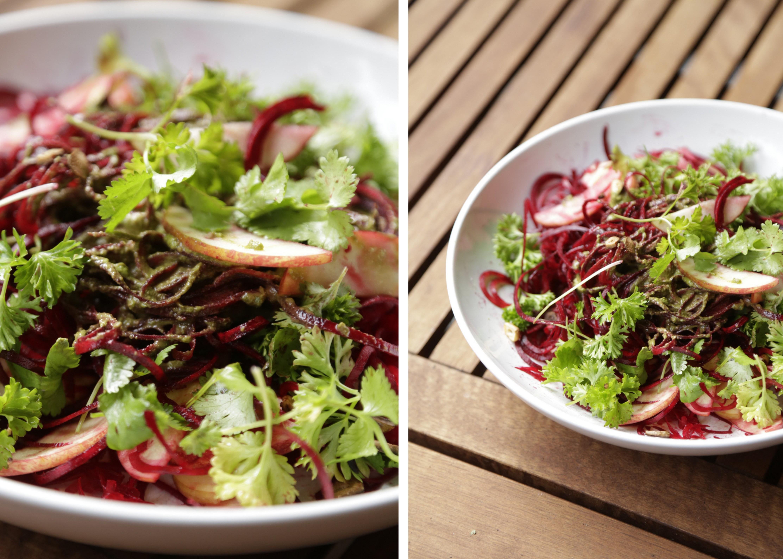 Rødbederåkost hvidløgsknas Retrokuren rawfood grøntsagsspaghetti urtepesto christinebonde blog